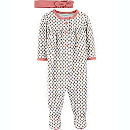 carter's® Preemie 2-Piece Floral Snap-Up Sleep & Play Footie and Headwrap Set