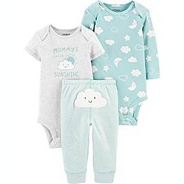 carter's® Preemie 3-Piece Cloud Bodysuits and Pant Little Character Set in Mint