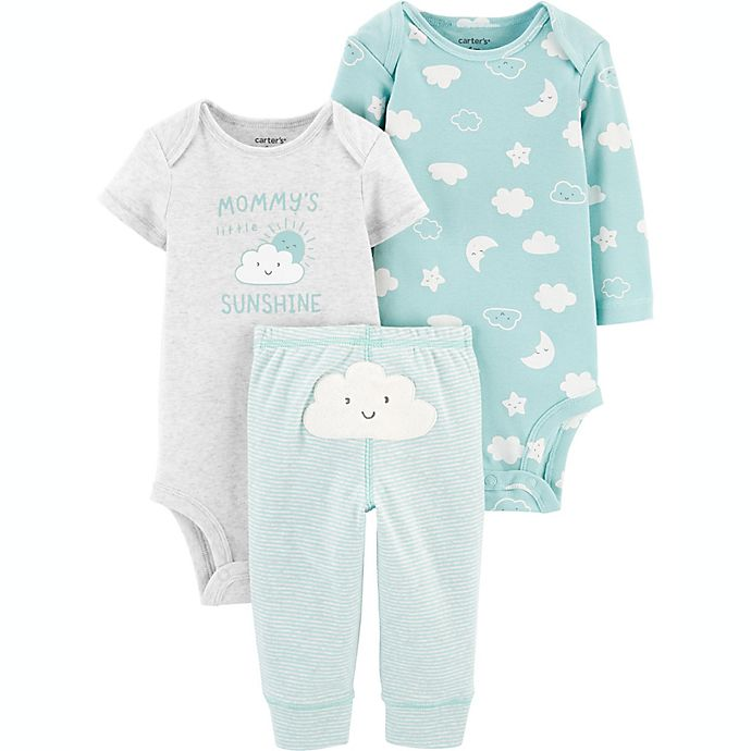 Alternate image 1 for carter's® Preemie 3-Piece Cloud Bodysuits and Pant Little Character Set in Mint