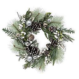 Boston International 24-Inch Spun Silver Evergreen Wreath in Green