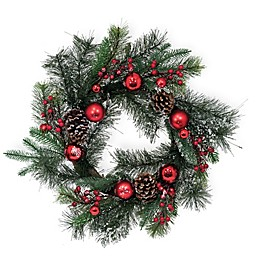 Boston International 22-Inch Frosted Tips Evergreen Wreath in Green/Red