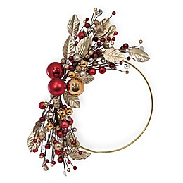 Boston International 15-Inch Metallic Leaf and Berry Wreath in Gold and Red