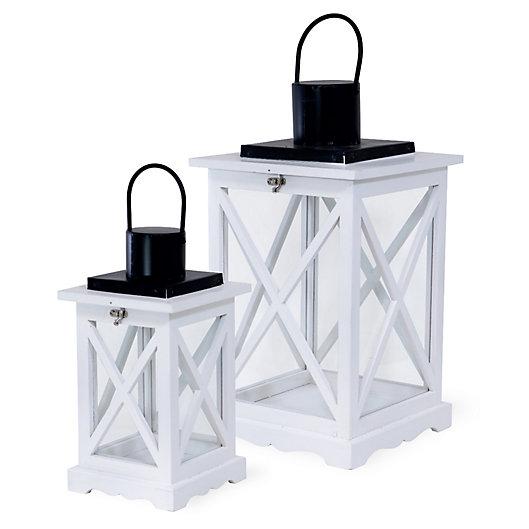 Alternate image 1 for Boston International Crisscross Lanterns in White (Set of 2)