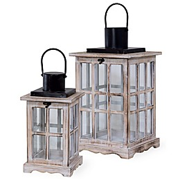 Boston International Colored Wood Windowpane Lanterns (Set of 2)