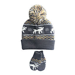 Toby Fairy™ 2-Piece Moose Fairisle Faux Fur Trapper Hat and Mittens Set
