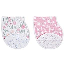 aden + anais® 2-Pack Mon Fleur Burpy Bibs in Pink/White