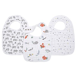 aden + anais® 3-Pack Naturally Classic Muslin Snap Bibs in Grey