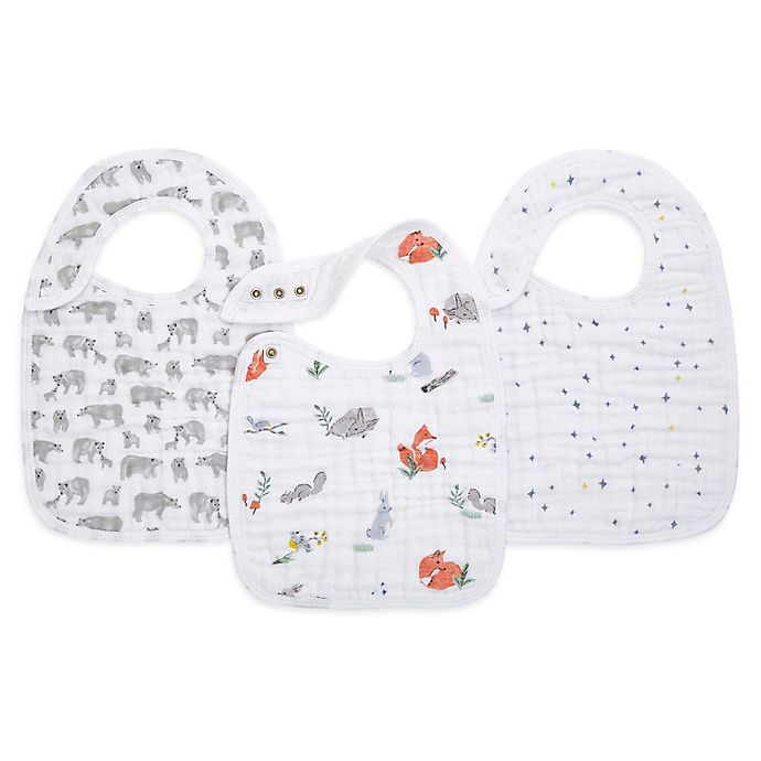 Alternate image 1 for aden + anais® 3-Pack Naturally Classic Muslin Snap Bibs in Grey