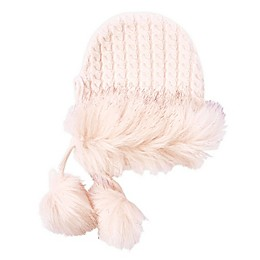 NYGB™ Gretel Cable Knit Hat with Pom Poms in Pink/Ivory