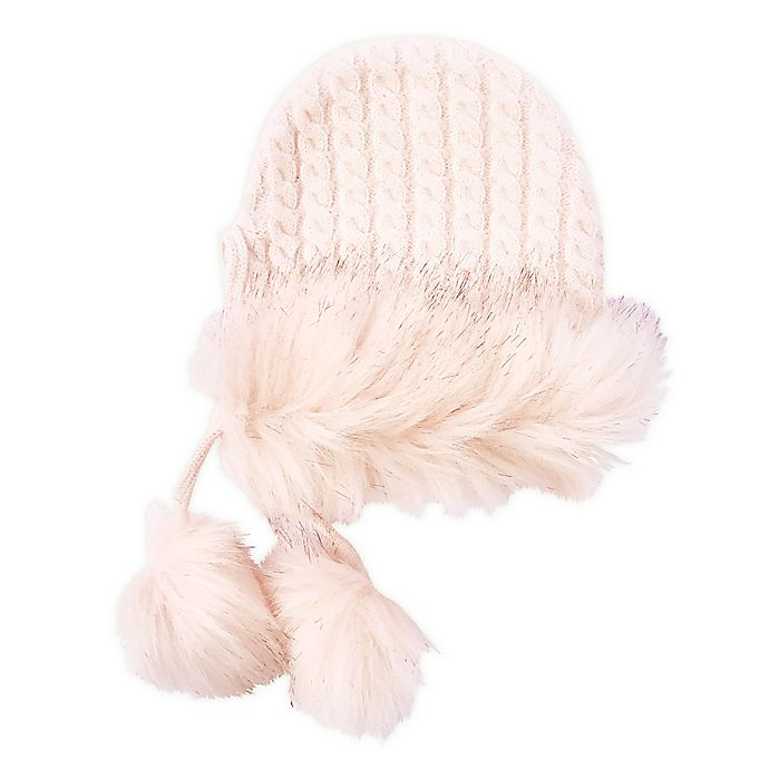 Alternate image 1 for NYGB™ Toddler Gretel Cable Knit Hat with Pom Poms in Pink/Ivory