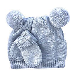 NYGB® Newborn 2-Piece Double Pom Hat and Mitten Set in Cloud