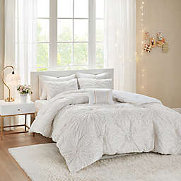 Intelligent Design Claire 3-Piece Metallic Printed Ruched Twin/Twin XL Comforter Set in White