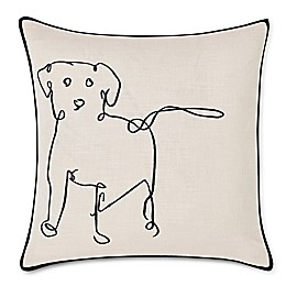 ED Ellen DeGeneres Doodle Dog Embroidered Square Throw Pillow in Black