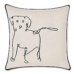 ED Ellen DeGeneres Doodle Dog Embroidered Square Throw Pillow in Black