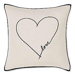 ED Ellen DeGeneres Love Heart Embroidered Square Throw Pillow in Black