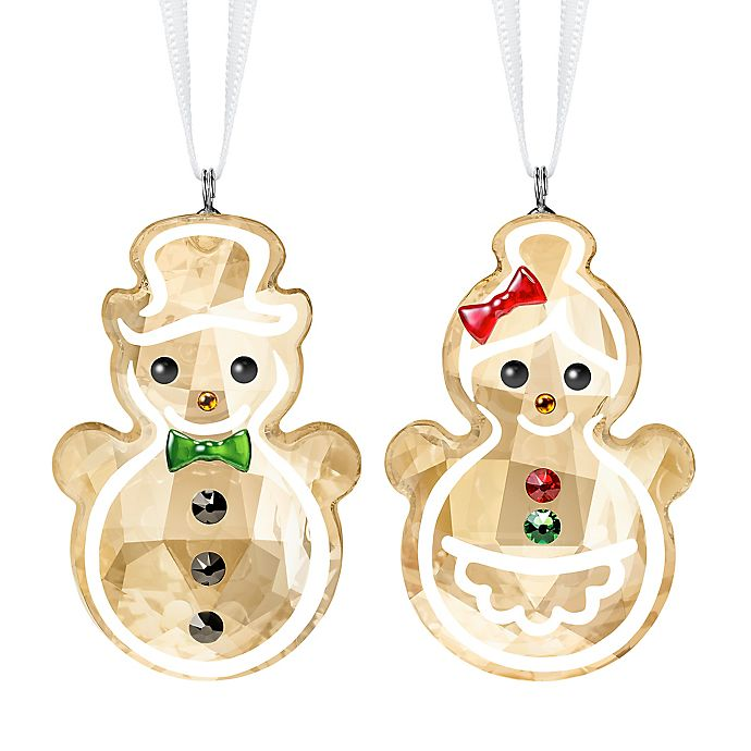 Alternate image 1 for Swarovski® 1.75-Inch Crystal Gingerbread Snowman Couple Ornament in Gold