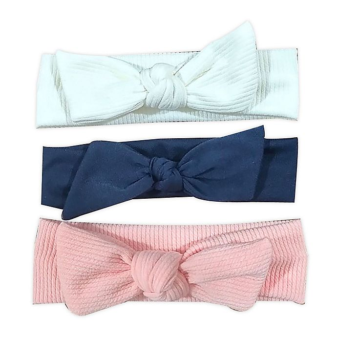 Alternate image 1 for Tiny Treasures™ 3-Pack Chunk Knit Headbands in Pink/White