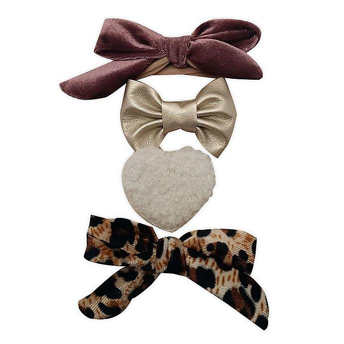 Alternate image 1 for Tiny Treasures™ 4-Pack Mixed Novelty Bow Headbands