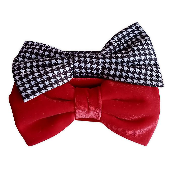 Alternate image 1 for Tiny Treasures™ 2-Pack Plaid and Solid Bow Headbands