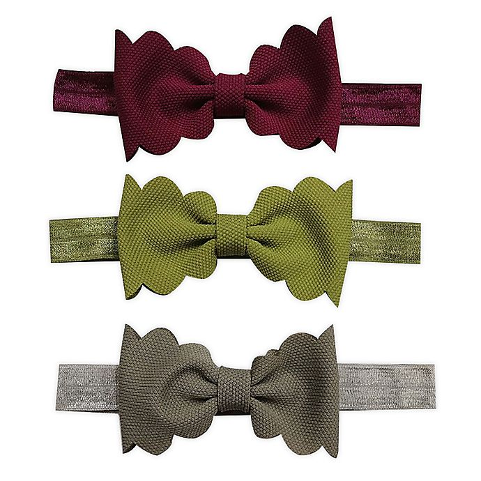 Alternate image 1 for Tiny Treasures™ 3-Pack Scallop Bow Headbands
