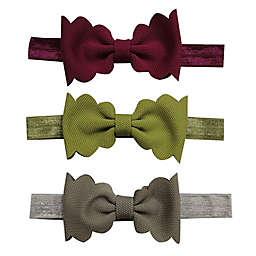Tiny Treasures™ 3-Pack Scallop Bow Headbands