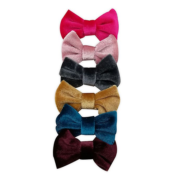 Alternate image 1 for Tiny Treasures™ 6-Pack Fall Colors Velour Mini Bow Hair Clips
