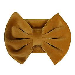 Tiny Treasures™ Velour Large Bow Headband in Mustard