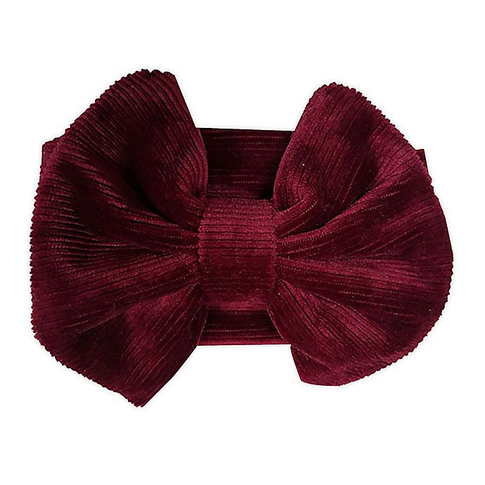 Alternate image 1 for Tiny Treasures™ Cord Large Bow Headband in Burgundy