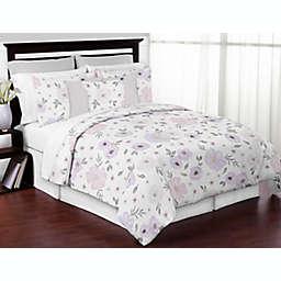 Sweet Jojo Designs® Watercolor Floral 3-Piece Full/Queen Comforter Set in Purple/Grey