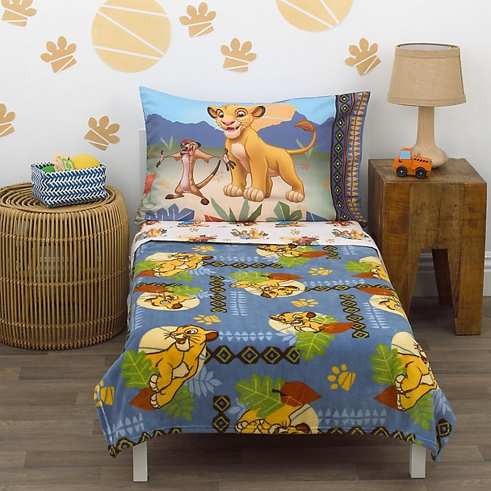 Alternate image 1 for Disney® Lion King Totally Tribal 4-Piece Toddler Bedding Set in Blue