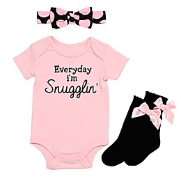 Baby Starters® Everyday I'm Snugglin Bodysuit, Headband and Sock Set in Pink