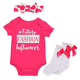 Baby Starters® Size 3M 3-Piece Fashion Influencer Bodysuit, Headband and Sock Set in Fuchsia