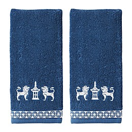 Vern Yip by SKL Home Chinoiserie Hand Towels in Navy (Set of 2)