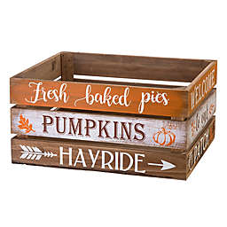 Glitzhome® 12-Inch Wooden Pumpkin Crates in Orange (Set of 2)