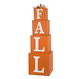 "Glitzhome® 38-Inch 4-Piece ""Fall"" Nested Box Pumpkin Decoration in Orange"