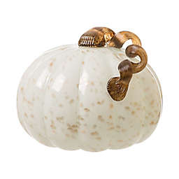 Glitzhome® 8.66-Inch Glass Pumpkin Decoration in White