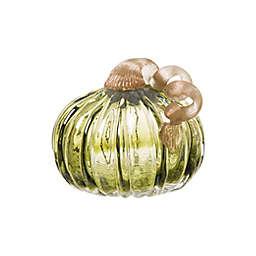Glitzhome® 4.72-Inch Short Glass Pumpkin Decoration in Green