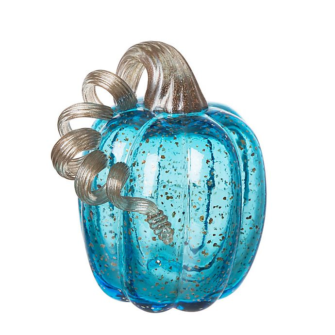 Alternate image 1 for Glitzhome® 6.1-Inch Handmade Glass Pumpkin Decoration in Blue