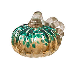 Glitzhome® 5.12-Inch Small Glitter Glass Pumpkin in Blue/Gold