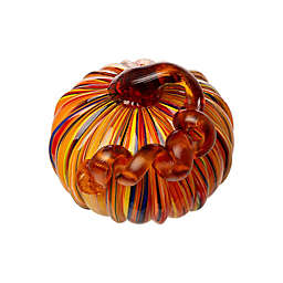 Glitzhome® 6.5-Inch Striped Glass Pumpkin Decoration in Orange