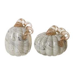 Glitzhome® 2-Piece Glass Pumpkin Decoration Set in Grey<br />