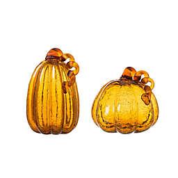 Glitzhome® 9.06-Inch Crackle Glass Pumpkin Decoration in Orange (Set of 2)
