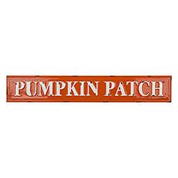 """Glitzhome® 5.75-Inch """"Pumpkin Patch"""" Metal Wall Sign in Orange"""