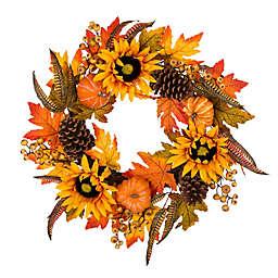 Glitzhome® 24-Inch Sunflower Wreath in Orange