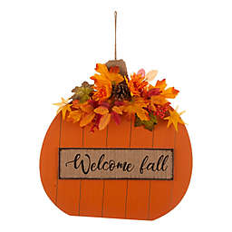 "Glitzhome® 20-Inch Pumpkin ""Welcome Fall"" Sign in Orange"