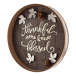 "Glitzhome® ""Thankful & Blessed"" Round Tray Hanging Decor in Black"
