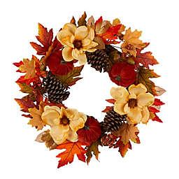 Glitzhome® 22-Inch Harvest Magnolia Wreath in Orange