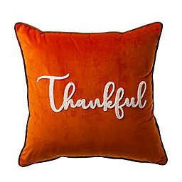 "Glitzhome® ""Thankful"" Velvet Square Pillow Cover in Orange"