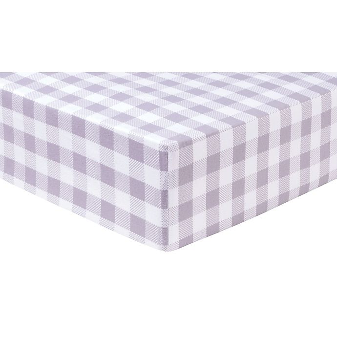 Alternate image 1 for Trend Lab® Buffalo Check Flannel Fitted Crib Sheet in Grey