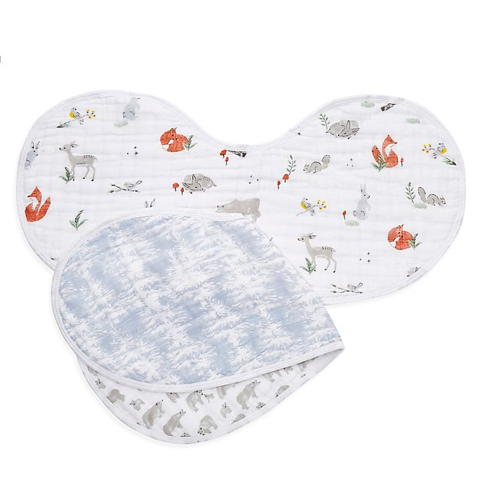 Alternate image 1 for aden + anais® 2-Pack Naturally Burpy Bibs in Grey